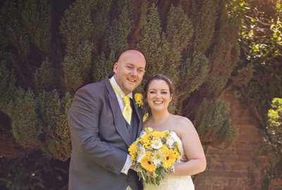 黃色和灰色的歡快春季婚禮調色板